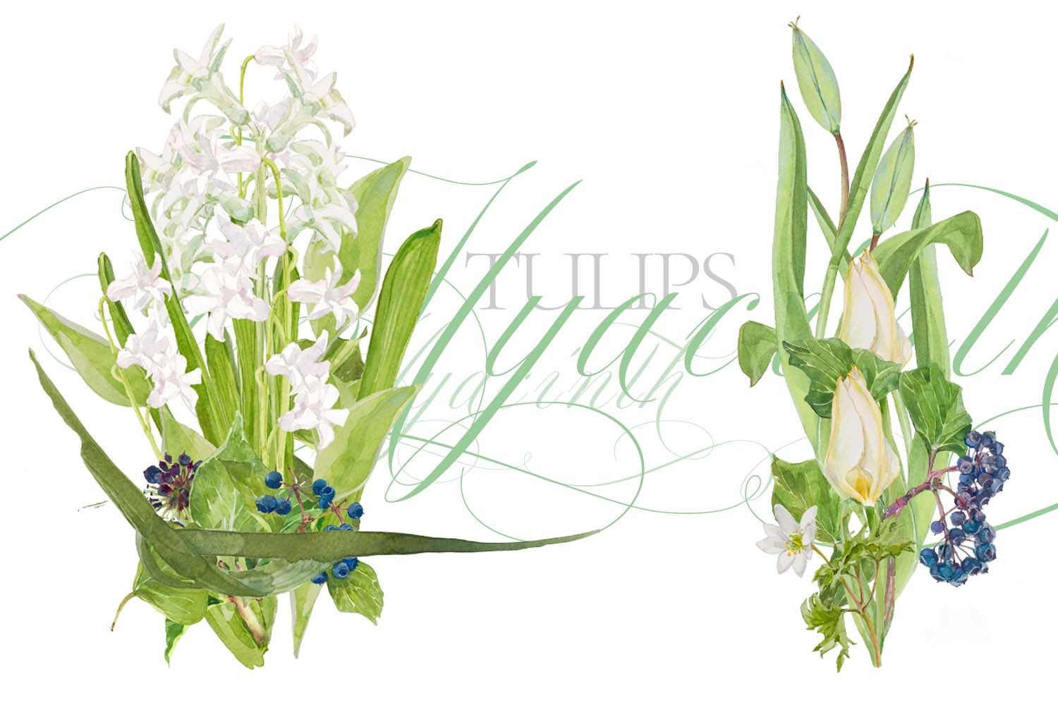 White Watercolor Bouquets & Wreaths example image 11