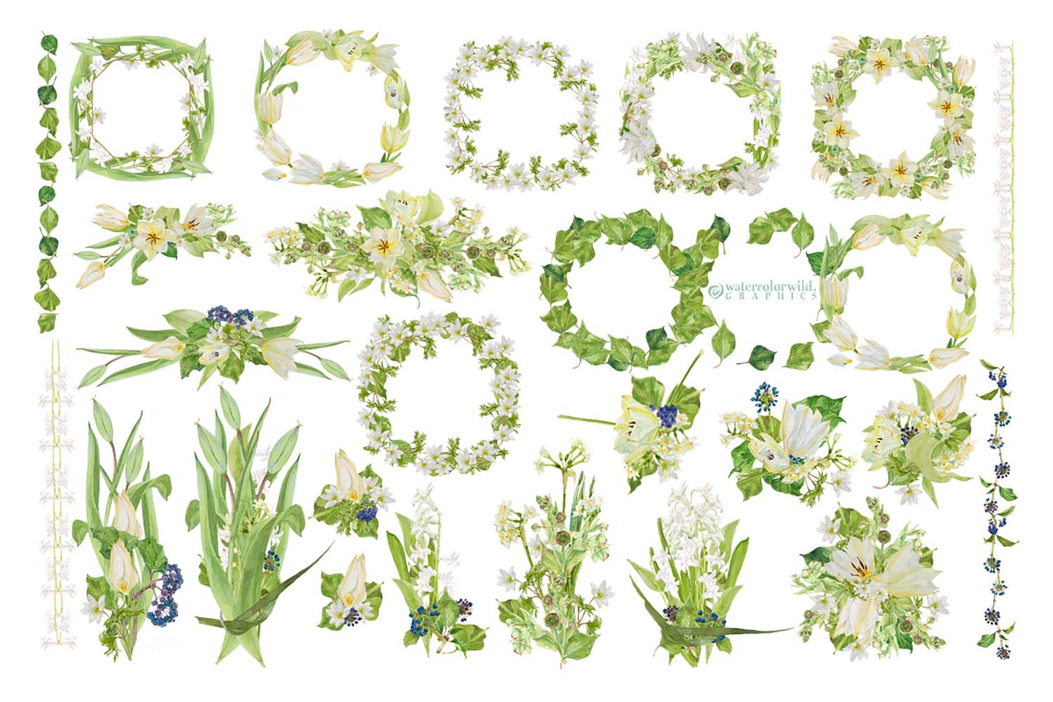 White Watercolor Bouquets & Wreaths example image 2