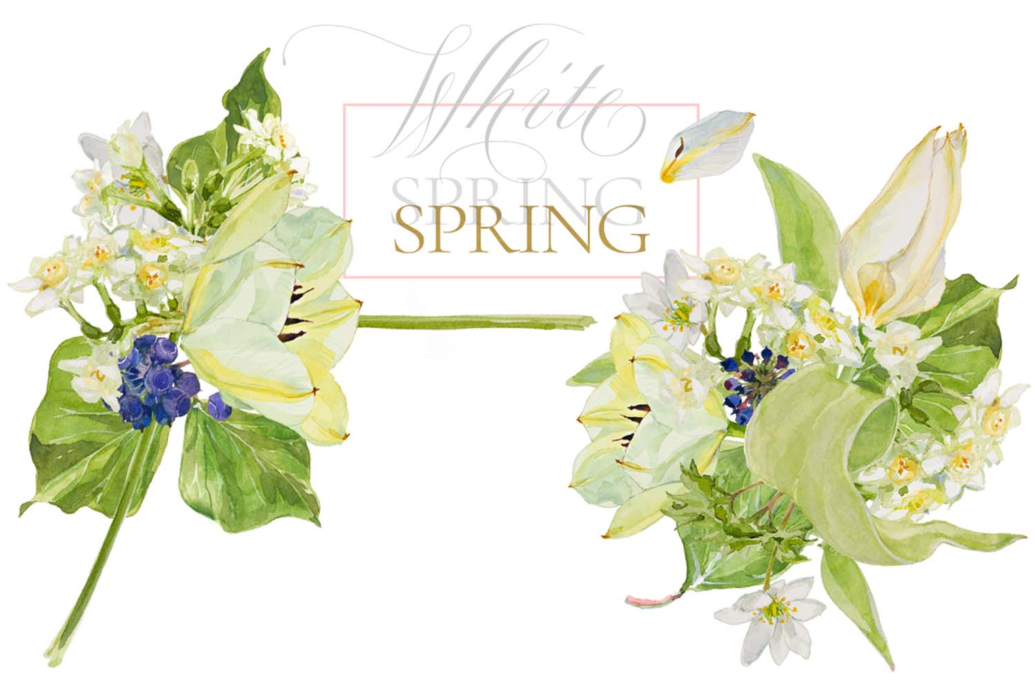 White Watercolor Bouquets & Wreaths example image 13