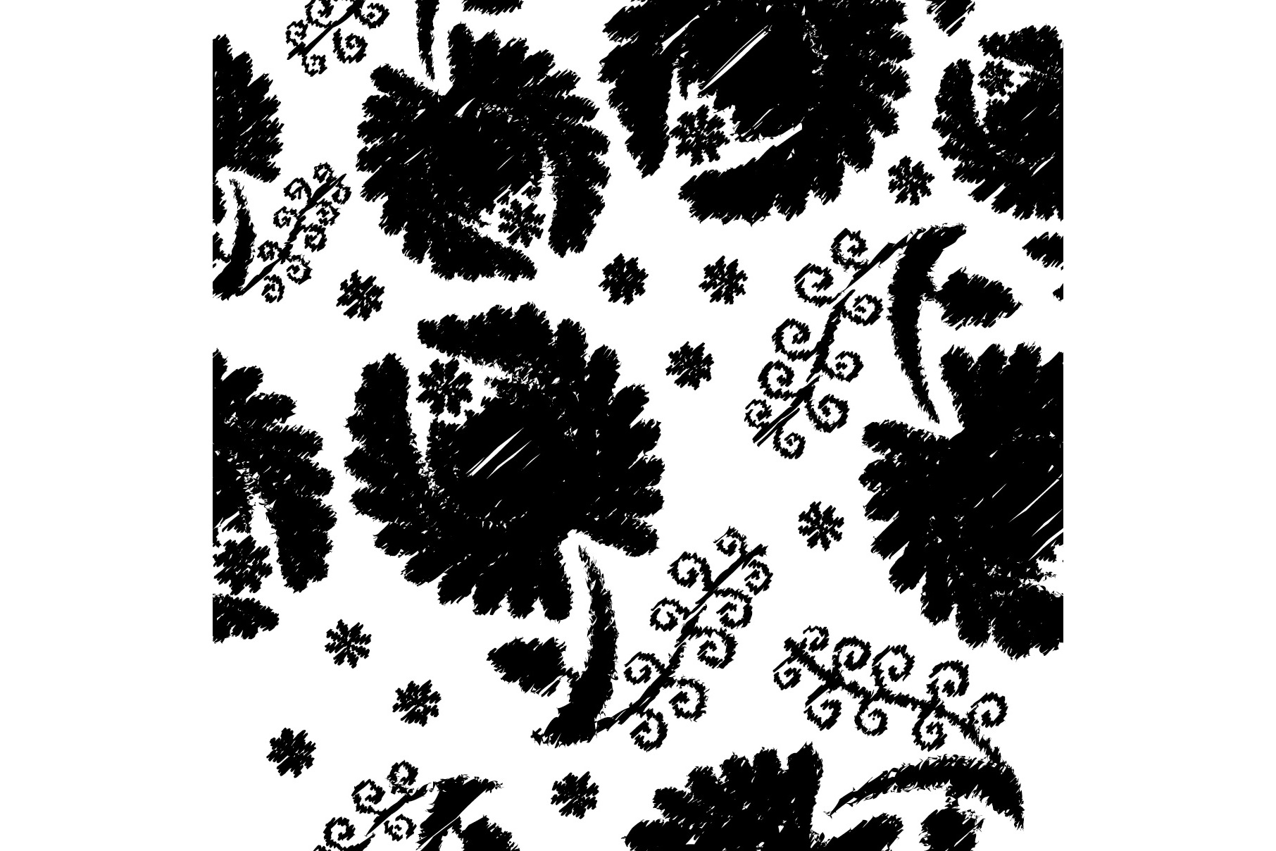 Set of 12 seamless pattern with decorative flowers.  example image 3