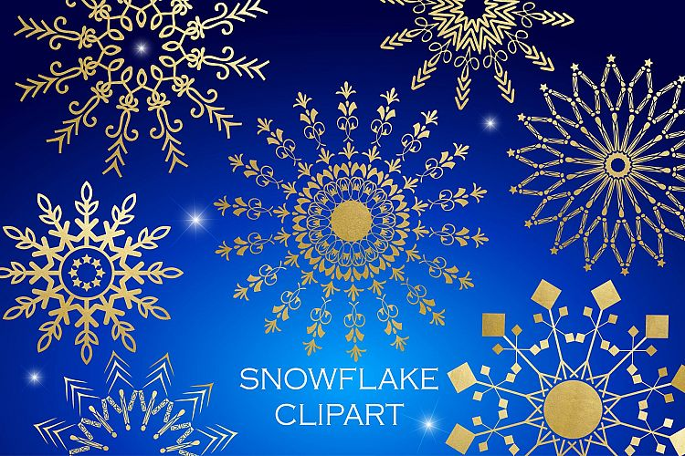 Snowflake Clipart - White Gold Blue example image 1