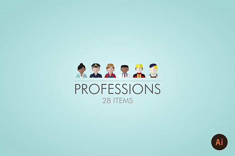 PROFESSIONS / PEOPLE  ICON SET example image 1
