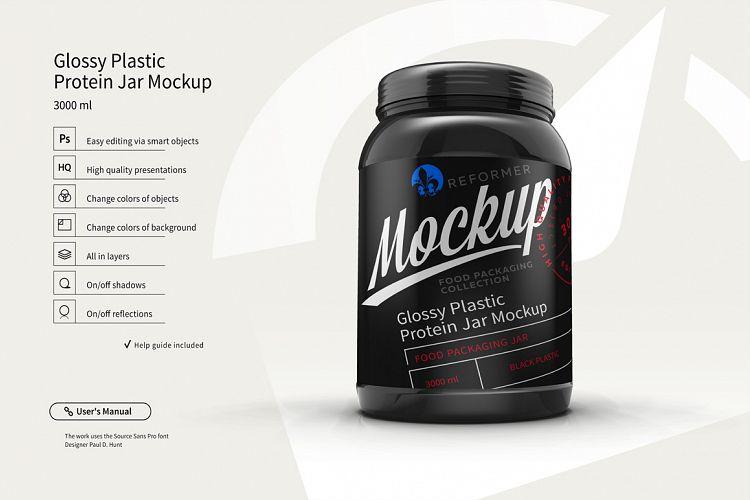 Plastic Protein Jar 2 Mock-Ups Files example image 1