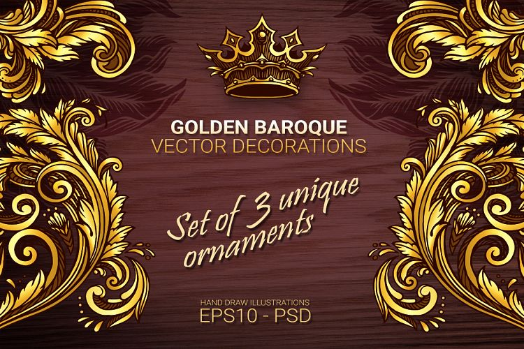Golden baroque vector decorations example image 1