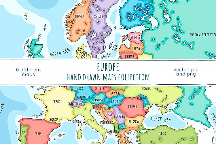 Maps of Europe. Hand drawn collection Image Of Pruduct Europe Map on