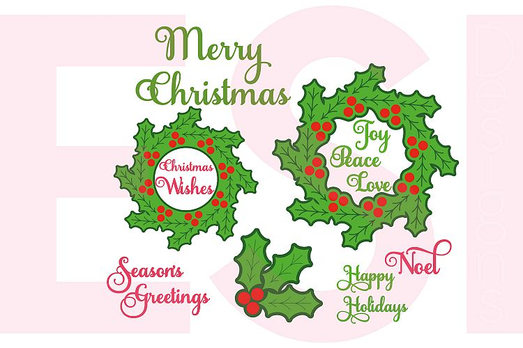 Christmas Holly Design Set Including Sentiments. example image 1