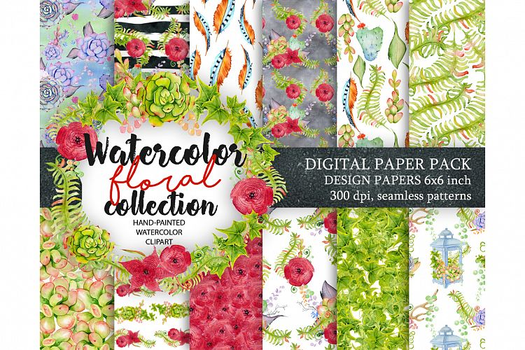 Watercolor Digital paper with floral, cactus and succulents Patterns example image 1
