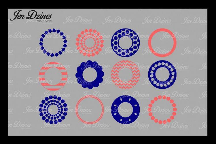 Circle Monogram Frame SVG DXF EPS PNG example image 1