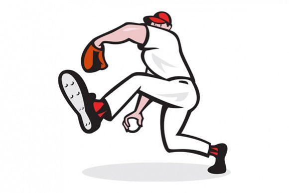 Baseball Pitcher Throwing Ball Cartoon example image 1