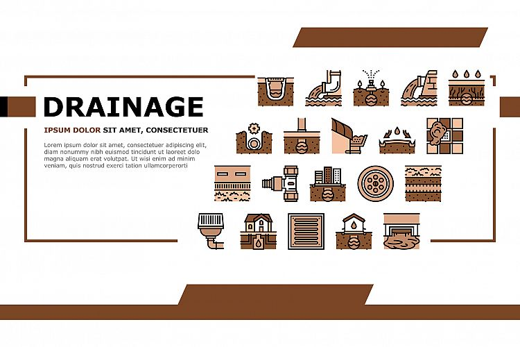 Drainage Water System Landing Header Vector example image 1