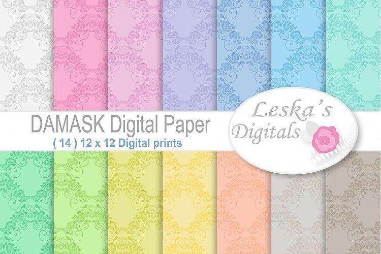 Damask Digital Paper - Pastel example image 1