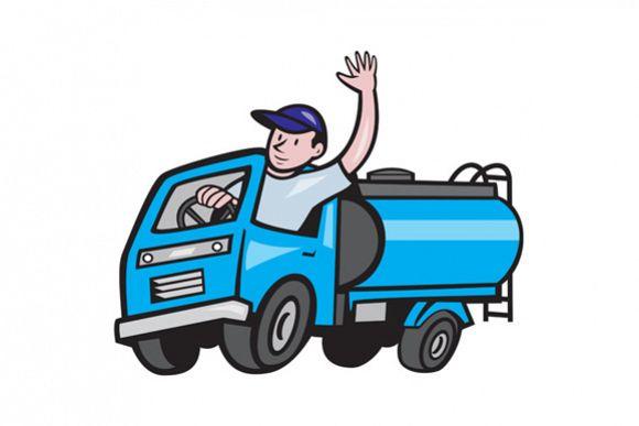 Baby Tanker Truck Driver Waving Cartoon example image 1
