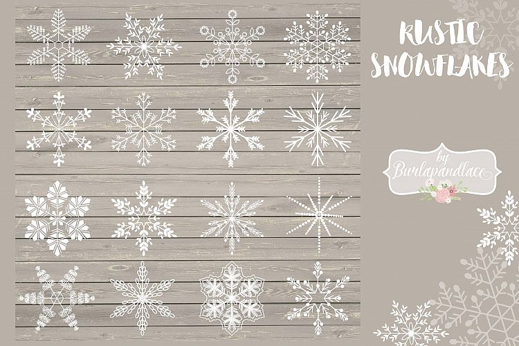 Vector Rustic Christmas snowflakes example image 1