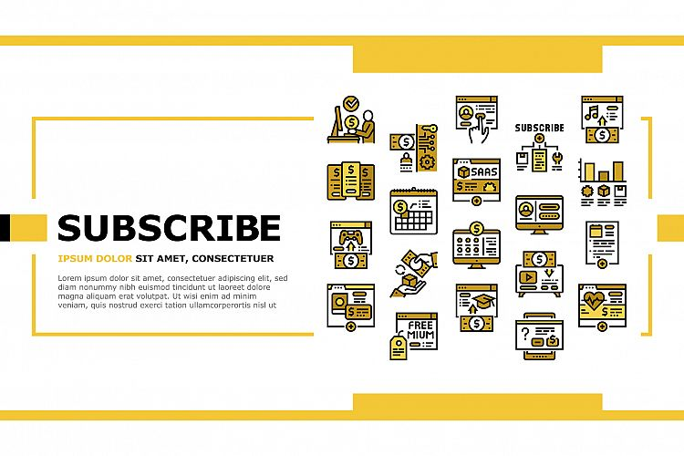 Subscription Content Landing Header Vector example image 1