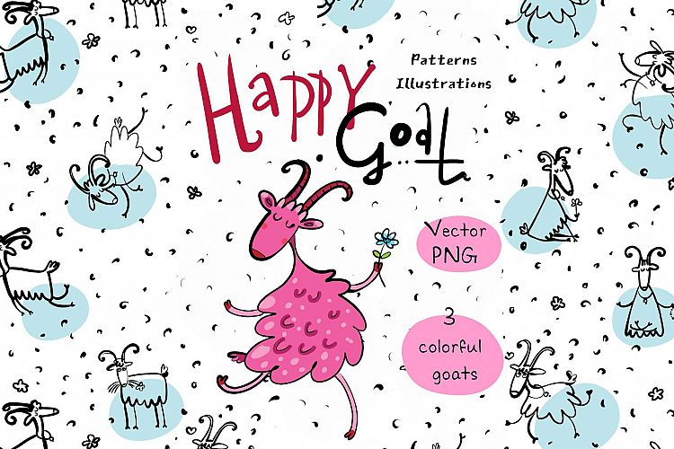 Happy Goat - patterns and illustrations