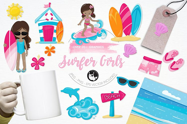 Surfer Girls  graphics and illustrations example image 1