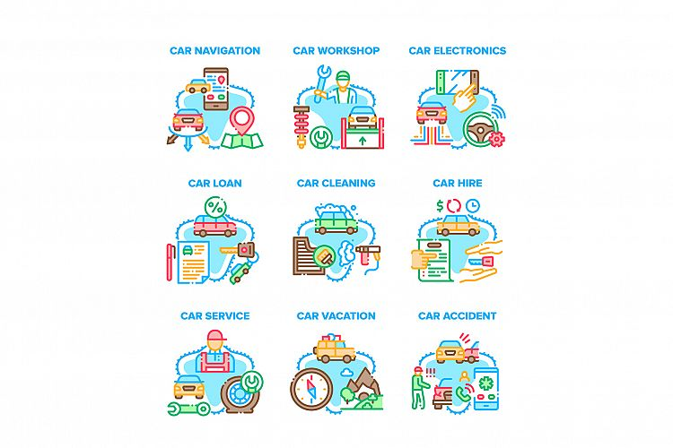 Car Repair Service Set Icons Vector Illustrations example image 1