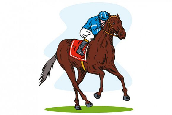 Horse and Jockey Racing Retro example image 1