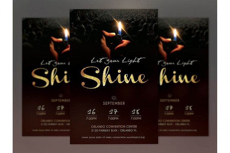 Shine Church Flyer Poster Photoshop Template