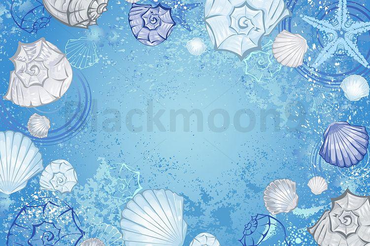 Blue background with seashells example image 1