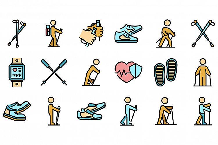 Nordic walking icons set vector flat example image 1
