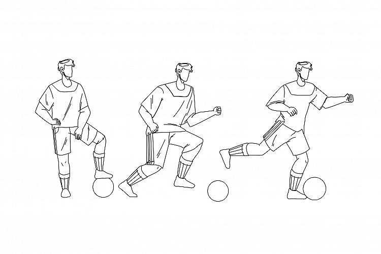 Football Player Playing And Kicking Ball Vector example image 1