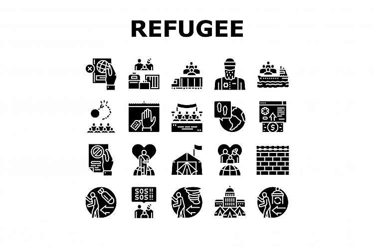 Refugee From Problem Collection Icons Set Vector example image 1
