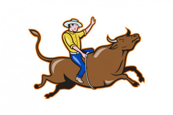 Rodeo Cowboy Bull Riding Retro example image 1