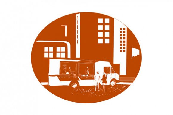 Food Truck City Buildings Oval Woodcut example image 1