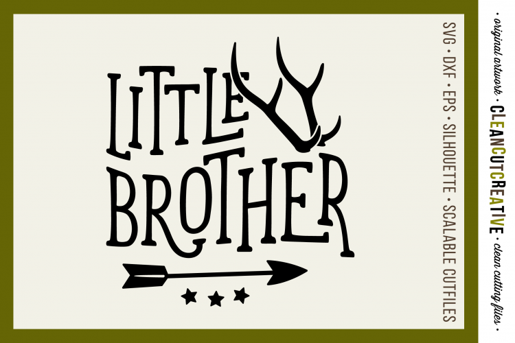 LITTLE BROTHER cutfile design withantlers and arrow SVG DXF example image 1