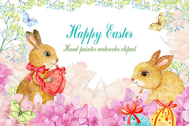 watercolor clipart/ Easter bunnies example image 1
