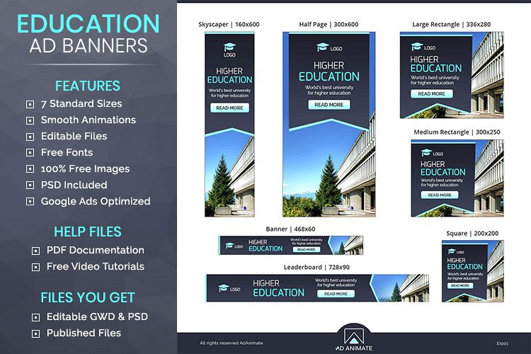 Higher Education Animated Banner Ad Template Ei001 131944 Websites Design Bundles