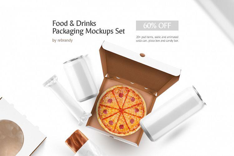 Food & Drinks Packaging Mockup Set example image 1