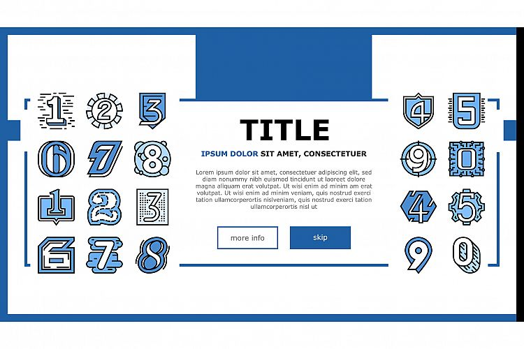 Numbers Numeral Title Landing Header Vector example image 1