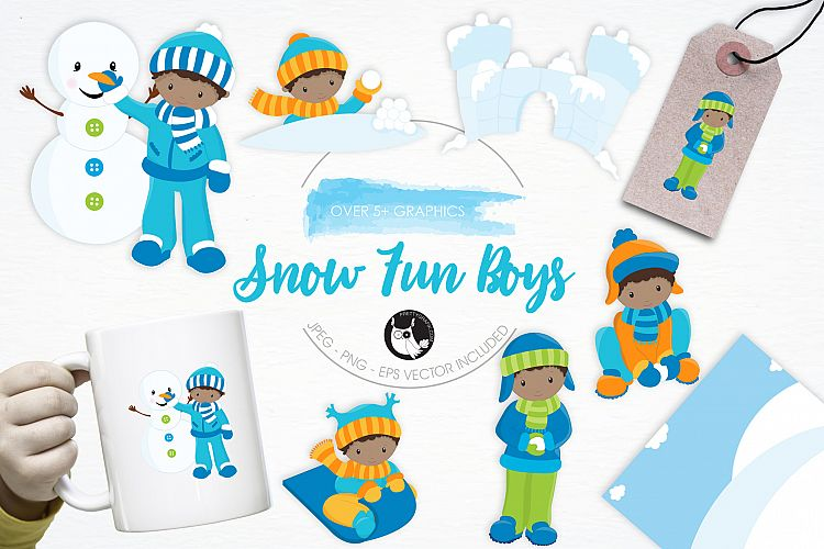 Snow Fun Boys graphics and illustrations example image 1