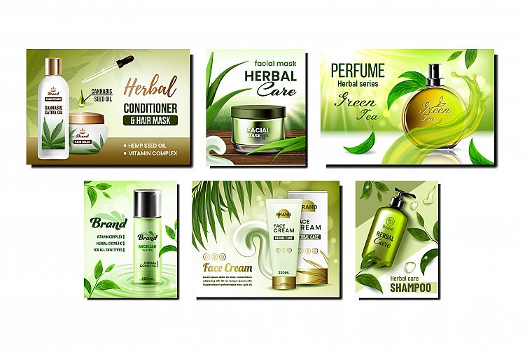 Herbal Cosmetic Promotional Posters Set Vector example image 1