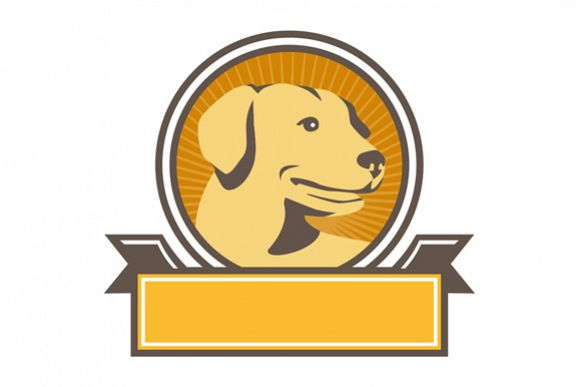 Yellow Labrador Golden Retriever Head Circle Retro example image 1