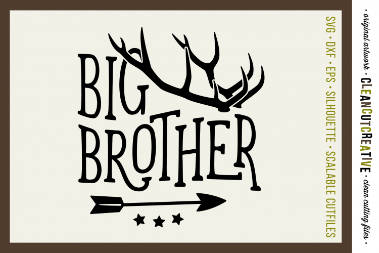 BIG BROTHER cutfile design with antlers and arrow - SVG DXF example image 1