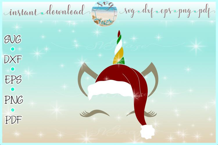 Unicorn Face Santa Hat Christmas Deer SVG DXF EPS PDF PNG