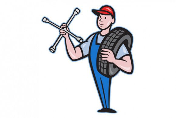 Mechanic With Tire Socket Wrench And Tire example image 1
