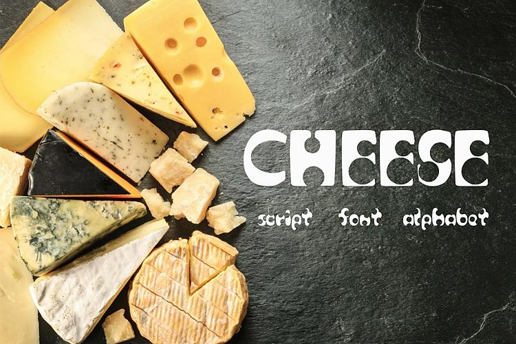 Cheese script / font / alphabet example image 1