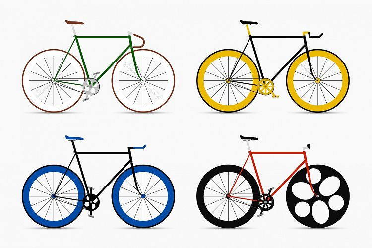 Bicycles set. Retro fixed bikes. example image 1