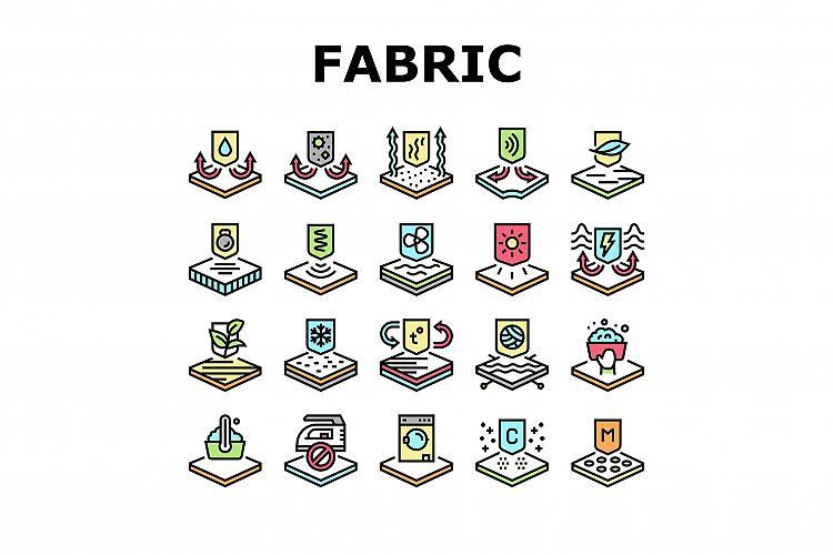 Fabrics Properties Collection Icons Set Vector example image 1
