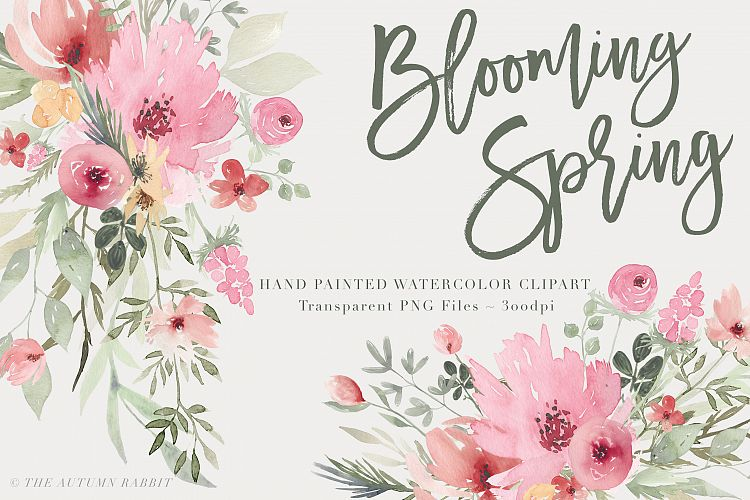 Watercolor Floral Clipart - Blooming Spring example image 1