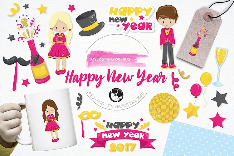 Happy New Year graphics and illustrations example image 1