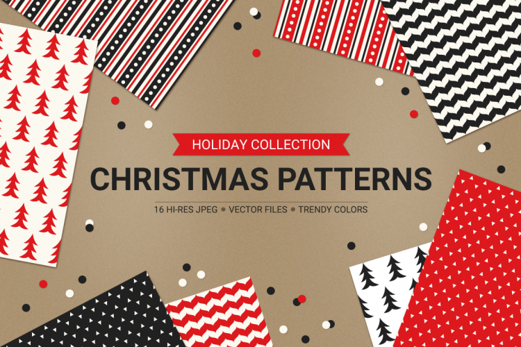 16 Christmas Seamless Patterns example image 1