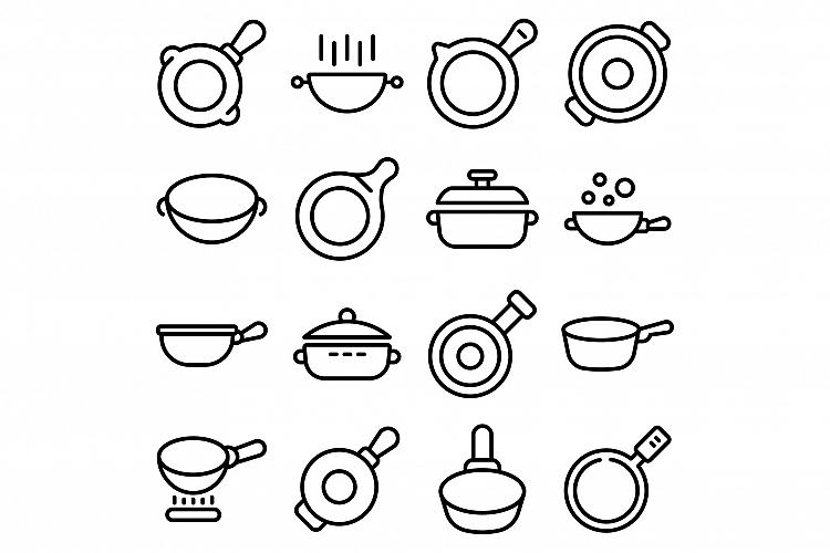 Wok frying pan icons set, outline style example image 1