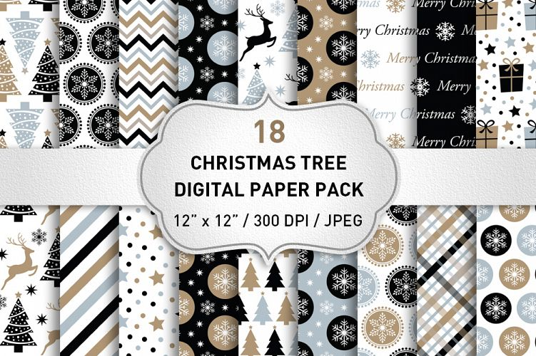 Christmas Digital Paper / Black and Gold Christmas Paper example image 1