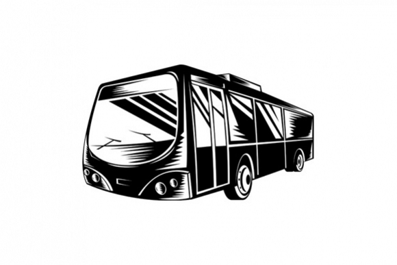 Passenger Coach Bus Woodcut example image 1