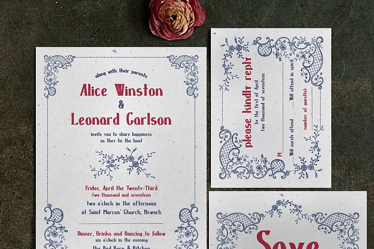 Embroidery Wedding Invitation Suite example image 1